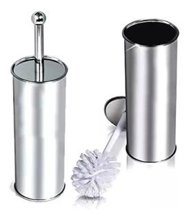 Cepillo Escobilla Wc Acero Con Vaso Liso Limpia Inodoro Baño