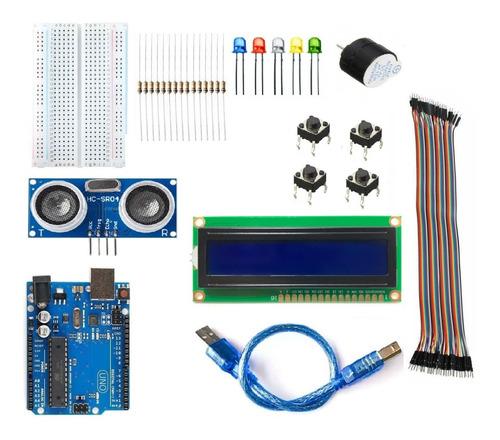 Kit Arduino Uno R3 + Caja Plastica + Lcd  + Hc-sr04 Y Mas