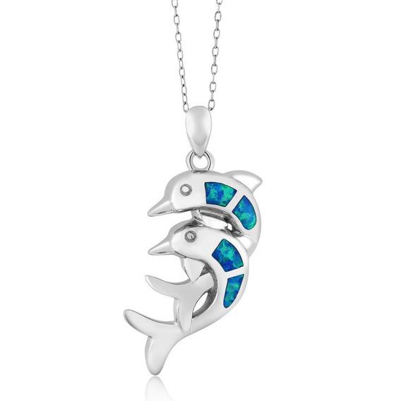 Delfin Con Cristales Azules En Plata Esterlin 925 Cadena 18