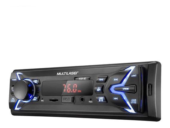 Radio Automotivo Usb Cartao Memoria Multilaser P3336 Pop Bt