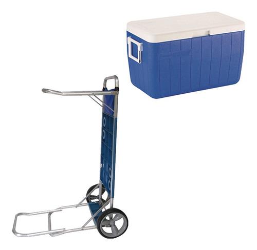 Caixa Térmica 45,4 L Coleman Azul Com Carrinho Mor Piscina