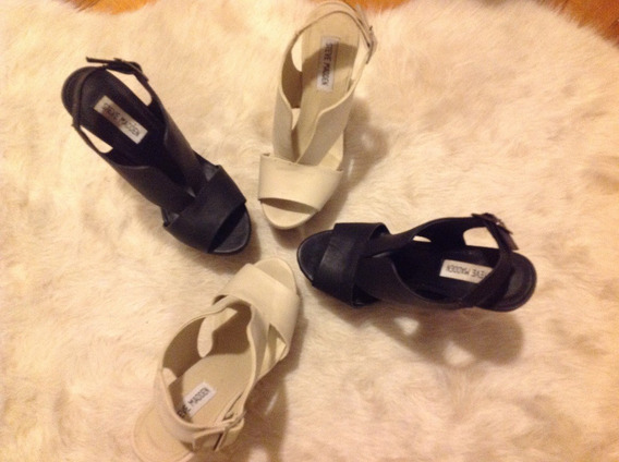 Zapatos Steve Madden 2 X 1 Nude/negro Casi Nuevos