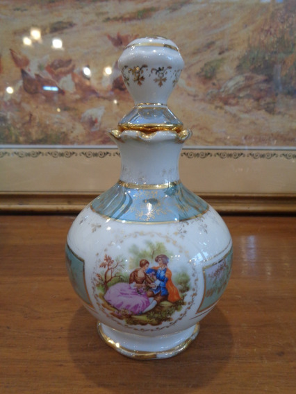 Antiguo Perfumero De Porcelana Con Escena Romántica