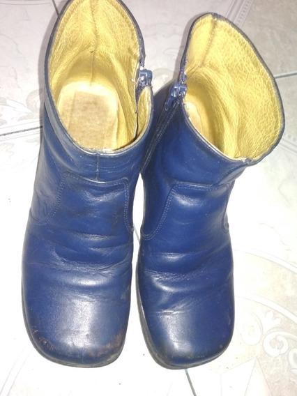 Botas De Escolta Azul Piel Suela Cuero Botin #22.5