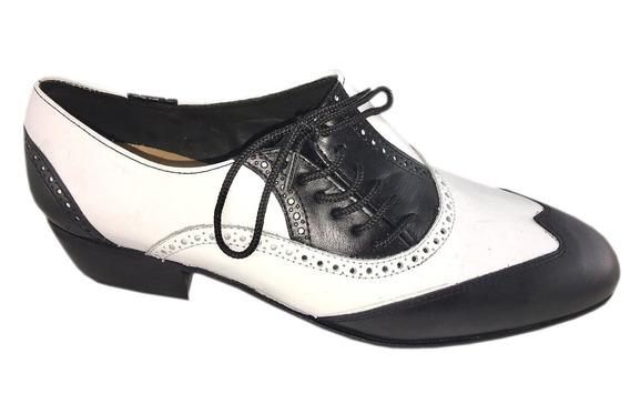 Zapatos De Baile Hombre Tango Salsa Rock Blanco Negro Flex