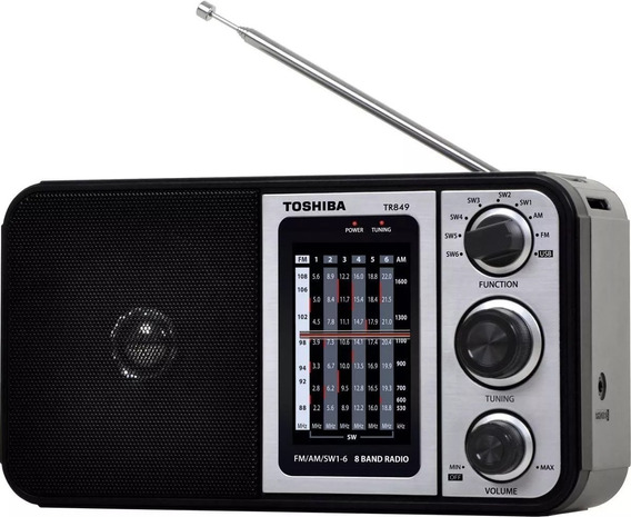 Radio Portatil Toshiba 8 Faixa Usb - Tr849