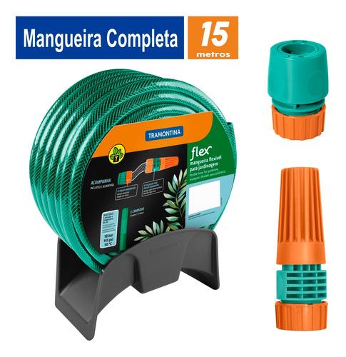 Imagem 1 de 10 de Mangueira 15 M Tramontina + Engate Esguicho E Suporte Mural