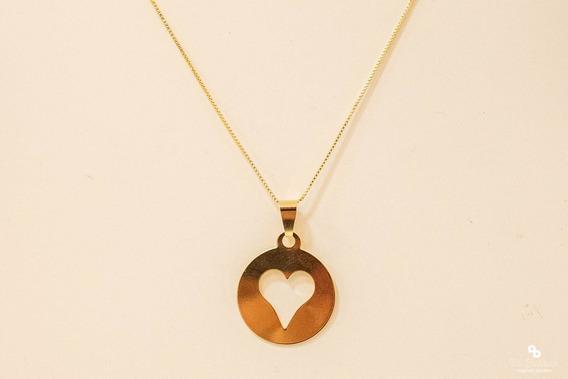 Colar Feminino Pingente Coração Semi Joias Banhado A Ouro 18