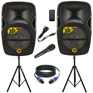 Sistema Sonido Bafles 300w + Pies Microfono Cables Bluetooth