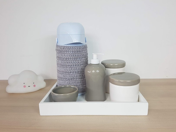 Kit Higiene Bebe Porcelana Cinza E Branco Garrafa Com Capa