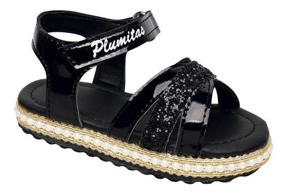 Sandalia Plumitas Para Bebé Negro Con Pulsera Y Brillos
