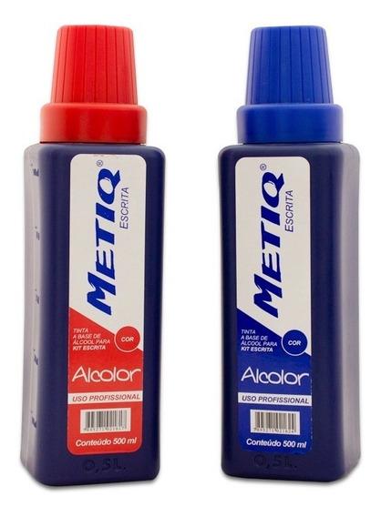 Tinta P/ Cartaz Metiq Alcolor 500ml 1 Vermelho + 1 Azul