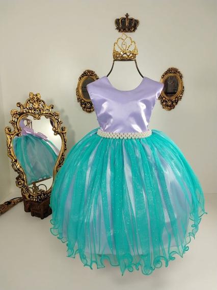 Vestido Infantil Luxo Pequena Sereia Ariel 1 Ao 12 + Coroa