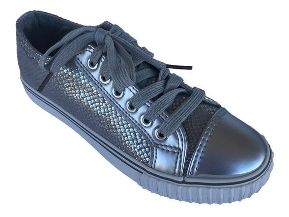 Zapatillas Urbanas En Plateado Con Plataforma Normal