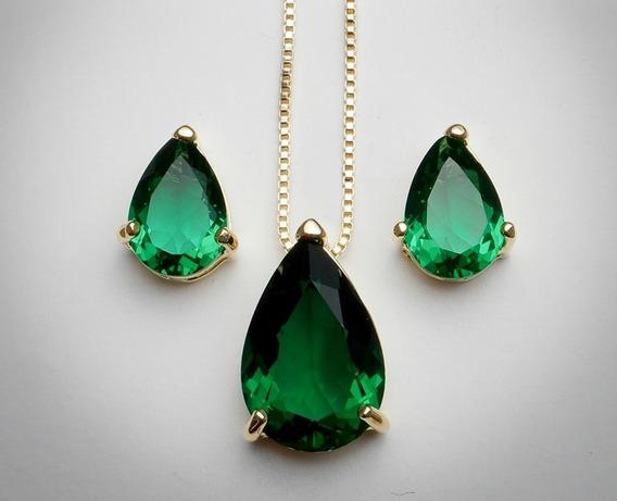 Conjunto Coração Gota Em Pedra Cor Esmeralda