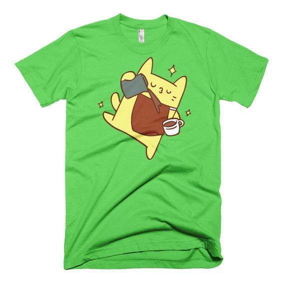 Playera Gato Cat Sirviendo Cafe Moda Premium Meme Gatos Unsx