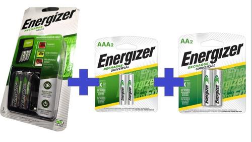 Cargador Energizer Maxi Con Recargables Aa Y Aaa Kit Combo