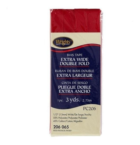Cinta Al Bies De Doblez Doble Extra Ancha De 1,2cm Roja Pc20