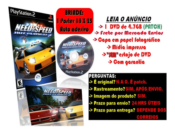 Need For Speed Hot Pursuit 2 P/ Ps2 + Brinde Poster Adesivo