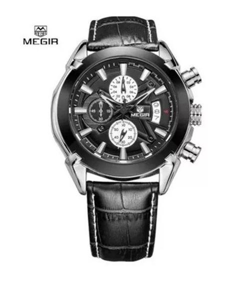 Relógio Masculino Megir Elegante Sport Militar Couro Mr002