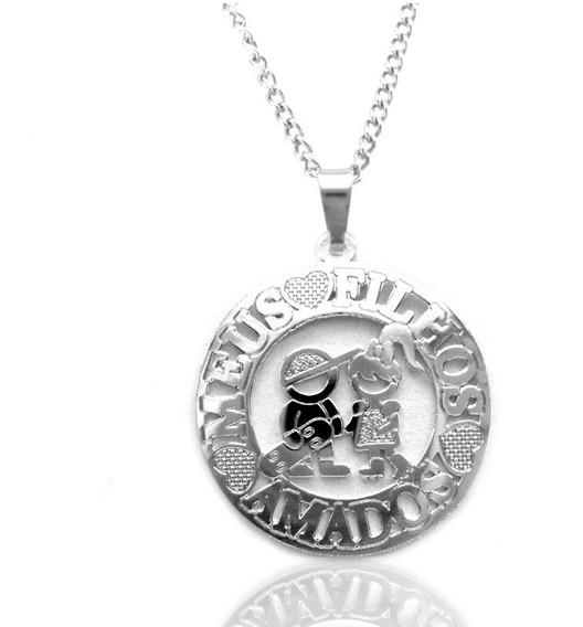 Gargantilha Medalha Casal De Filhos Menino E Menina Aço Inox