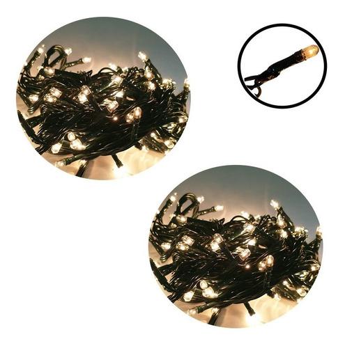 02 Pisca Pisca Luz 100 Lâmpada Natal 8 Funções-branco Quente