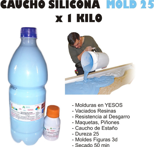 Imagen 1 de 4 de Caucho Silicona Para Moldes Mold 25 X 1kg Panel 3d Yeso