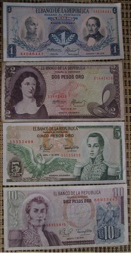 Billetes De Colombia 1-2-5-10 Pesos Oro (l 18
