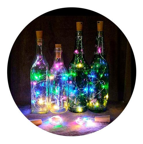 Tapon Multicolor Led Para Botella Vino + Pila  Luz  Alambre