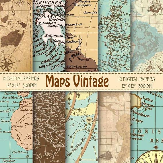Kit Imprimible Fondos De Mapas Vintage 10 Fondo Ver Promo