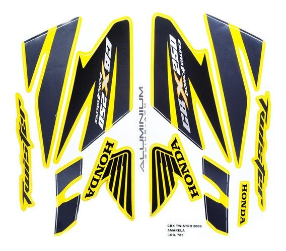 Faixas / Kit Adesivos Cbx250 Twister 2008 Amarela