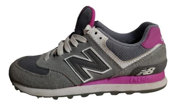 Zapatillas De Mujer New Balance 574 Gris Y Rosa