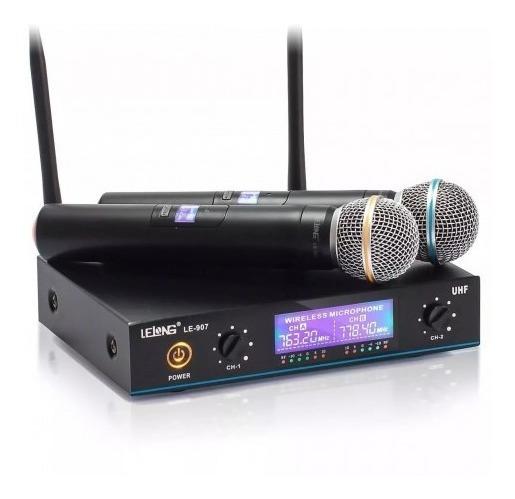 Microfone Sem Fio Duplo Uhf Profissional Le-907 - Lelong