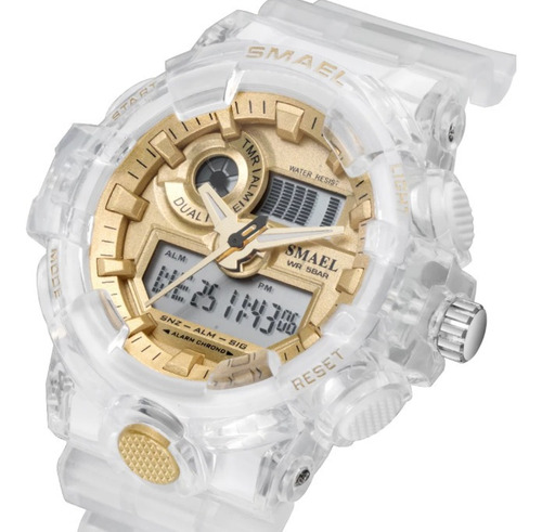 Relógio Feminino Esportivo Smael Branco E Dourado .