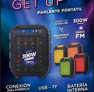 Parlante Bluetooth 300 W Dinax Get Up Karaoke Luz Led