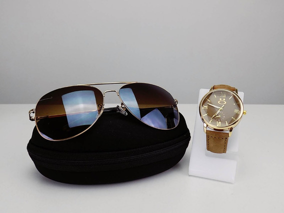 Kit Óculos De Sol Aviador + Relógio Dourado Atacado Revenda
