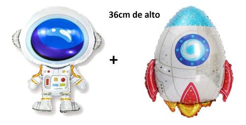 Imagen 1 de 4 de Globo Metalizado Cohete Y Astronauta Espacio 36 Cm