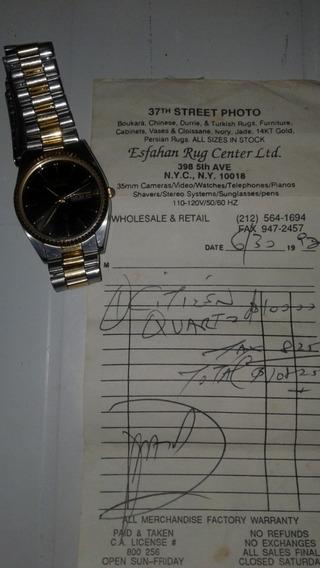 Relógio Citizen Quartz Metal Inox Detalhes Dourados Original