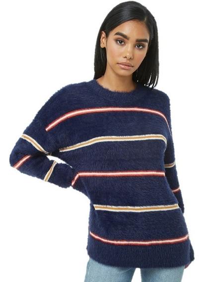 Sweater De Pelo Sintetico Azul Rayas Moda Mujer Forever 21
