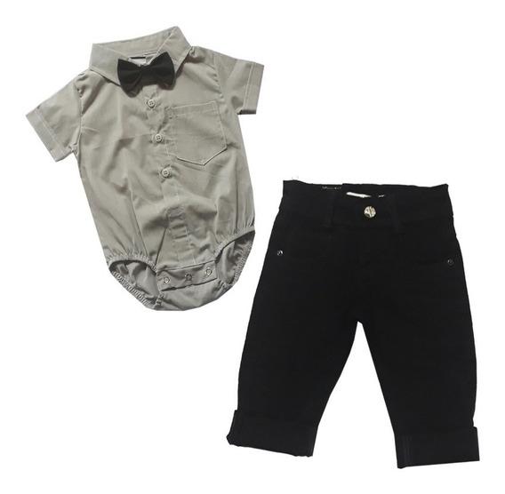 Body Bebe Camisa Social Calça Jeans Festa Mini Boy