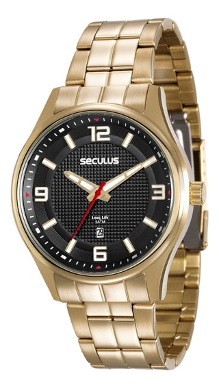 Relógio Masculino Seculus Dourado Fundo Preto 20571gpsvda1