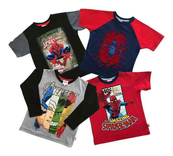Playeras Spider-man Thor Y Marvel Avengers Para Niño 4-pack
