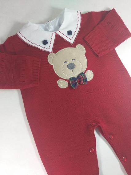 Macacão De Trico Linha Menino Cor Vermelho Urso + Body
