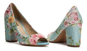 Sapato Feminino Peep Toe Salto Medio Floral Verão Promoção¿