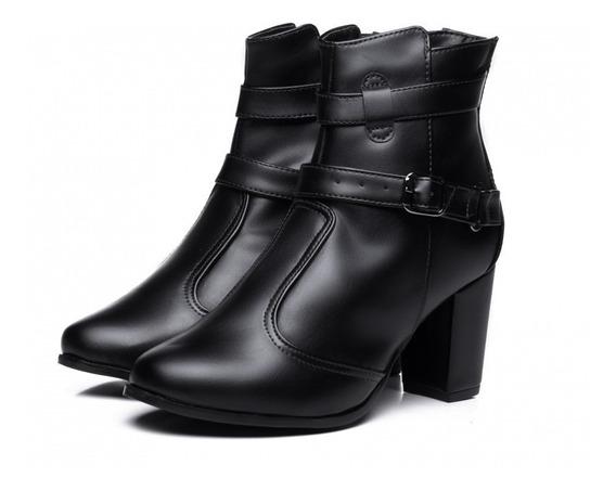 Bota Feminina Ankle Boot Salto Grosso Napa Torricella