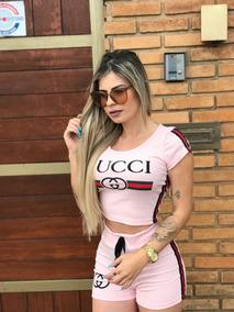 Conjunto Feminino Croped E Shorts Barato Moda Gucci C/listas