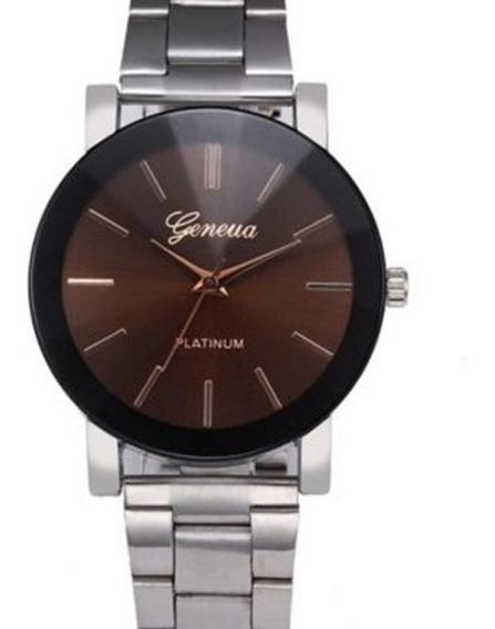 Relógio Feminino Geneva Platinum De Aço Prata Com Preto