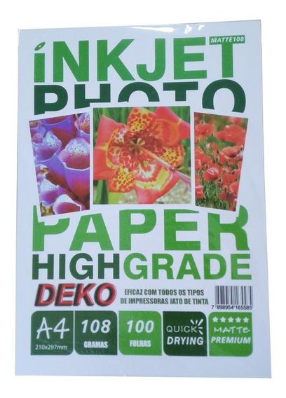 Papel Matte Fosco 108g 100 Folhas A4 Maior Resistência Água