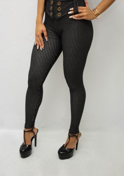 Calça Cintura Alta Hot Cotton Jeans Lycra Levanta Bumbum Top