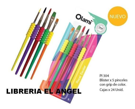 Pincel Cuerpo De Goma X5 Unidades Olami - Pinceles Color